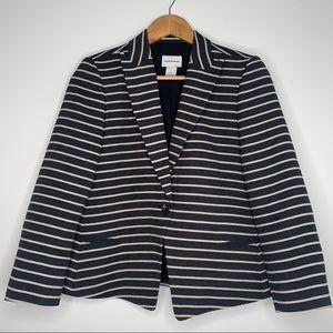 Club Monaco Women's Striped One Button Blazer Sz 6